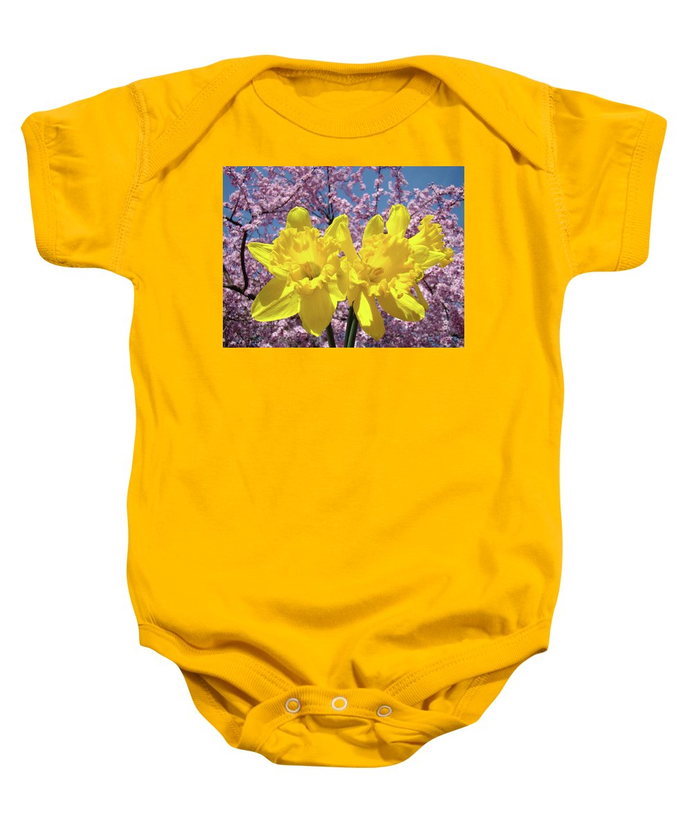 Daffodils Baby Onesie featuring the photograph Daffodil Flowers Spring Pink Tree Blossoms Art Prints Baslee Troutman by Baslee Troutman