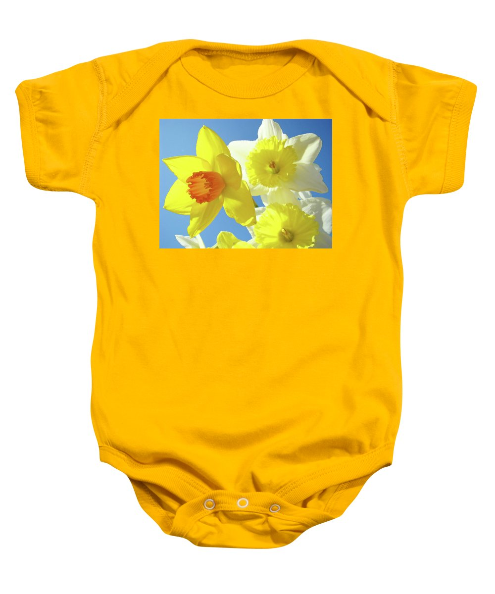 Flowers Baby Onesie featuring the photograph Daffodils Art Print Floral Sky Bouquet Daffodil Flower Baslee by Baslee Troutman