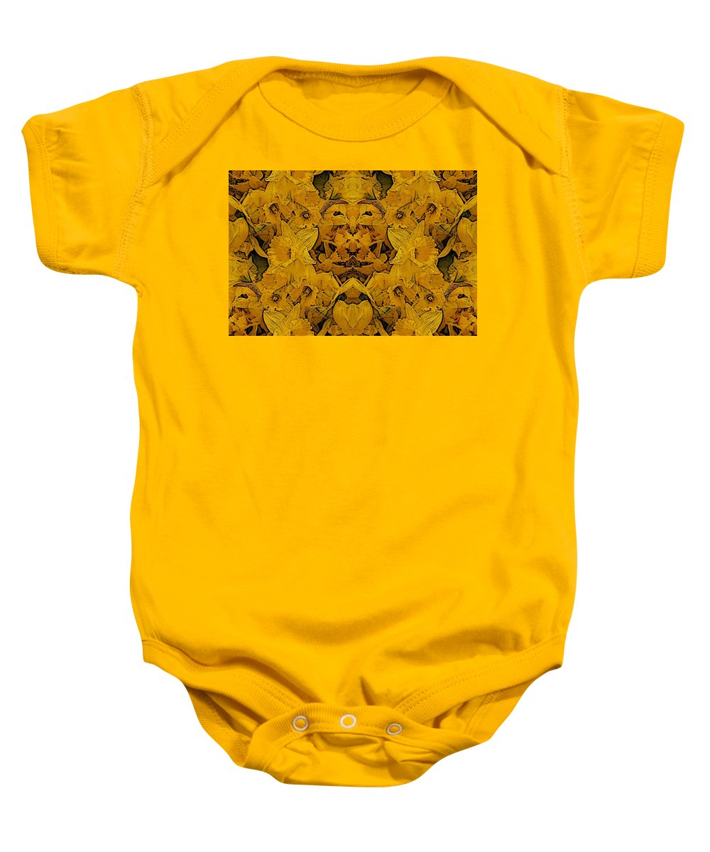 Daffodil Baby Onesie featuring the digital art Daffy Daffodils by Tim Allen