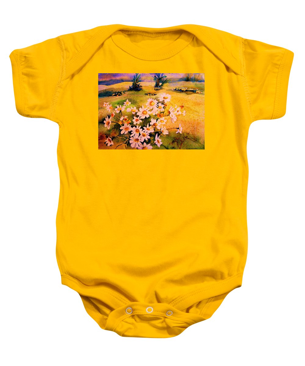 Daisies Baby Onesie featuring the painting Daisies In The Sun by Carole Spandau