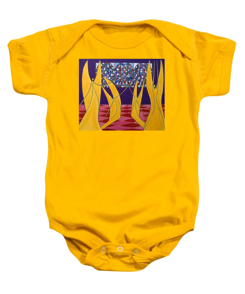 Dance Of Angels Baby Onesie featuring the painting Dance Of Angels by Sandra Marie Adams