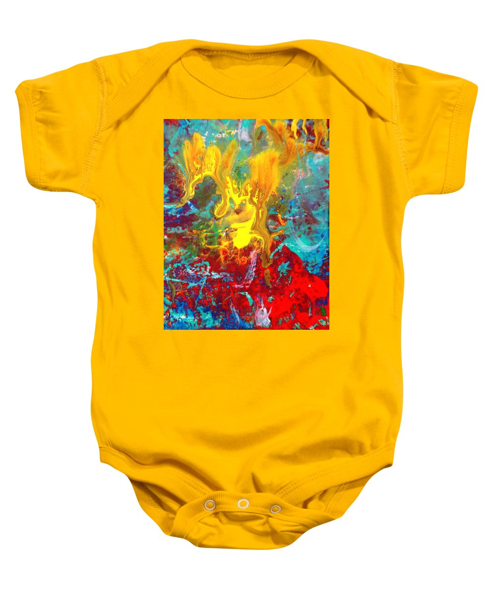 Abstract Baby Onesie featuring the painting Dawn Of The Universe by Natalie Holland