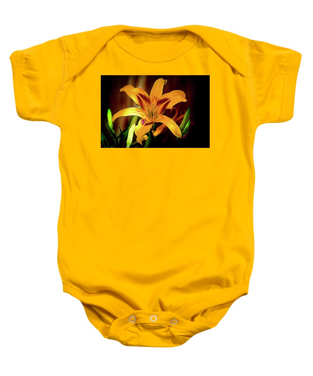 Day Lily Baby Onesie featuring the photograph Day Lily by Jay Hooker
