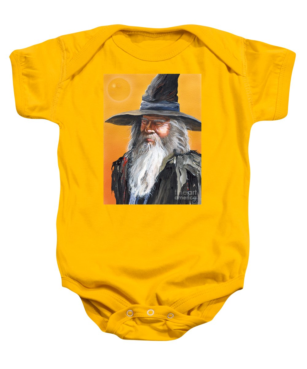 Fantasy Art Baby Onesie featuring the painting Daydream Wizard by J W Baker