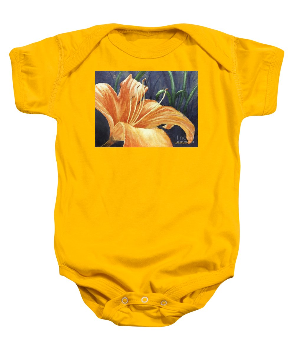 Flower Baby Onesie featuring the painting Daylily by Todd A Blanchard