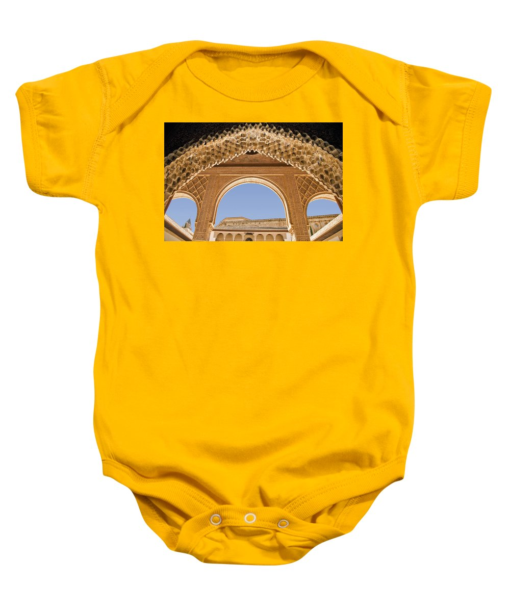 Architecture Baby Onesie featuring the photograph Decorative Moorish Architecture In The Nasrid Palaces At The Alhambra Granada Spain by Mal Bray