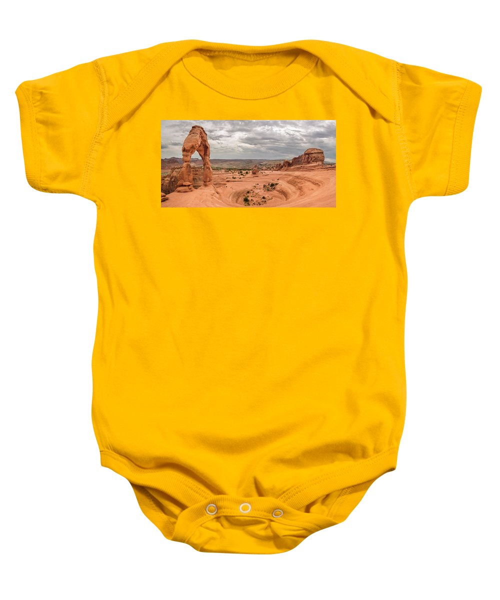 3scape Baby Onesie featuring the photograph Delicate Arch Panoramic by Adam Romanowicz
