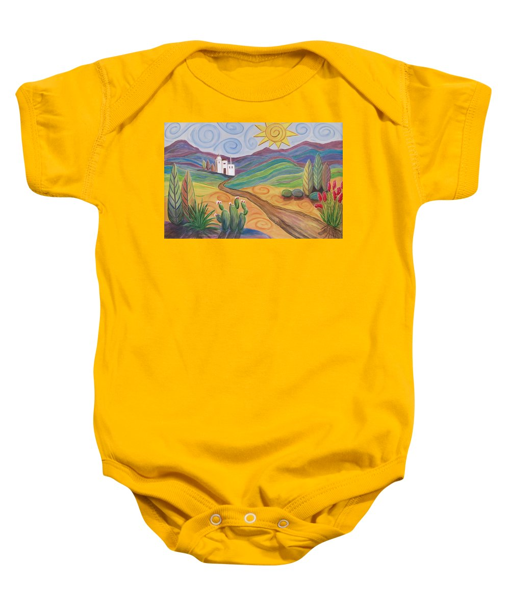 Southwest Baby Onesie featuring the painting Desert Dreams by Anita Burgermeister