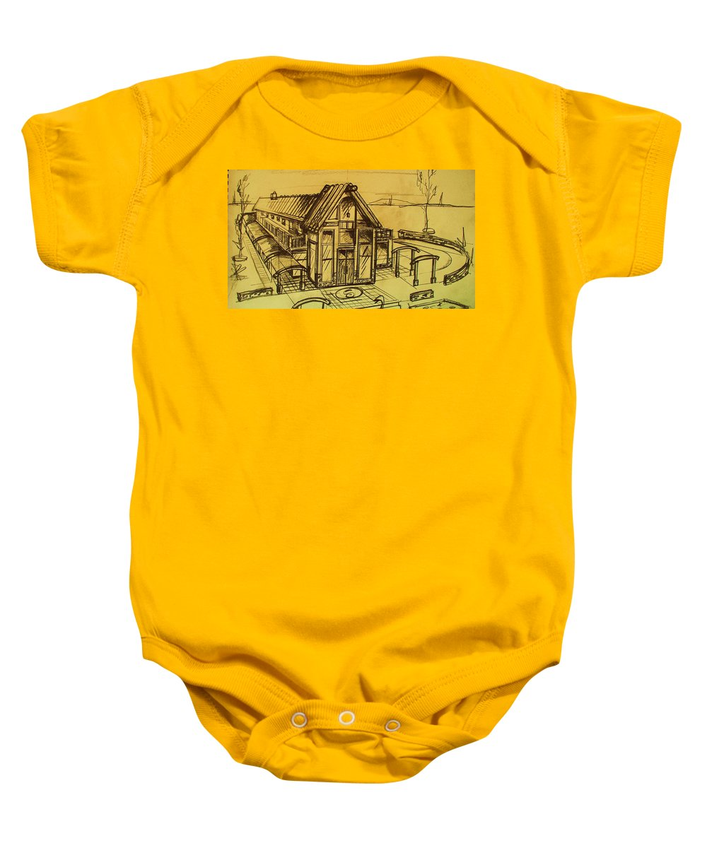 Architectural Baby Onesie featuring the drawing Design Sketch by Eric Schiabor