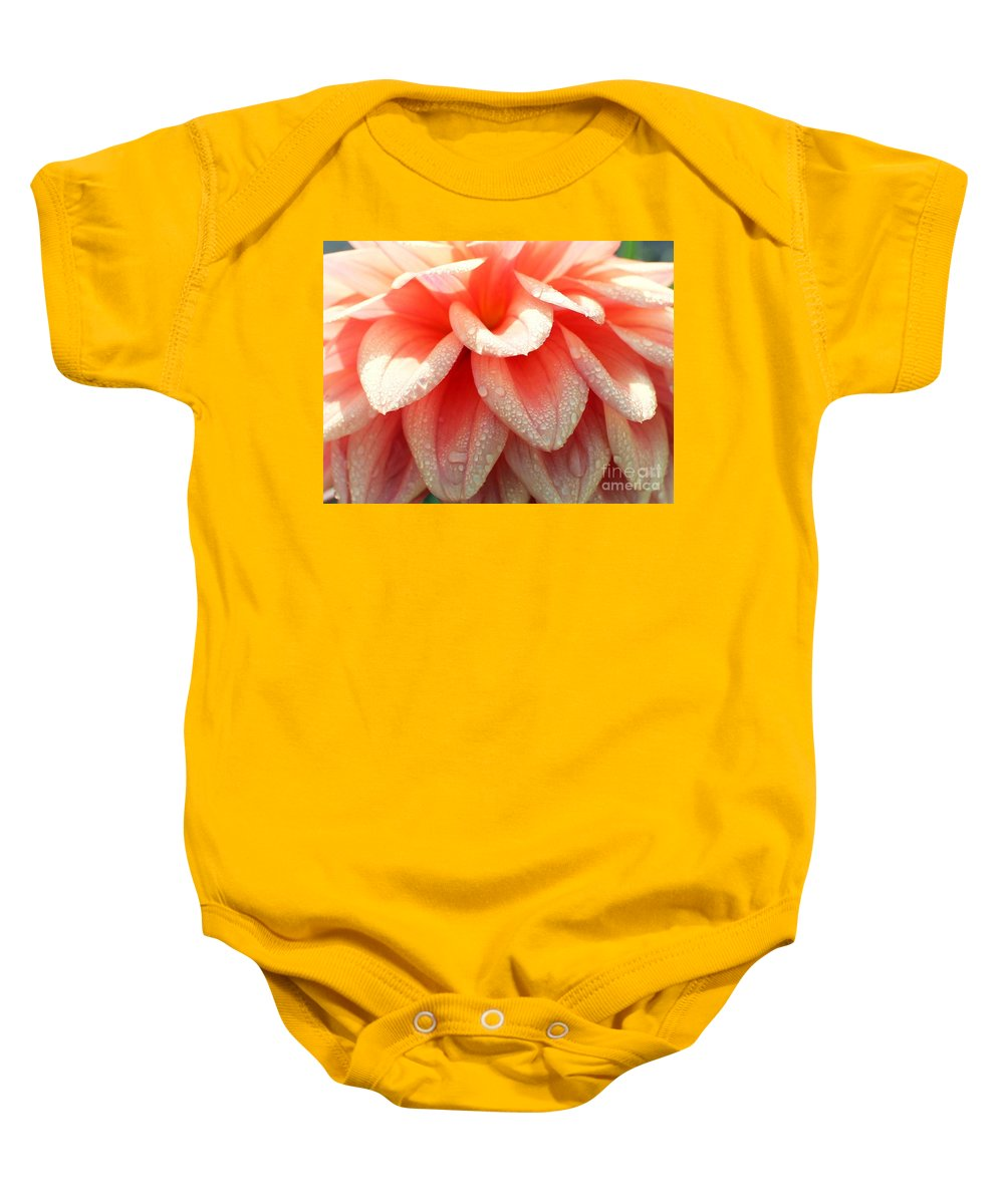Dahlias Baby Onesie featuring the photograph Dew -drops On The Dahlia 2 by Jane Powell