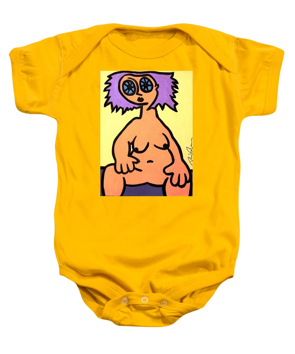 Clay Baby Onesie featuring the painting Diamond Eyes by Thomas Valentine