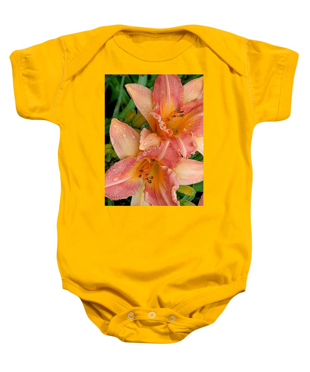 Rain Baby Onesie featuring the photograph Diamonds And Lilies Watercolor by Carolyn Jacob