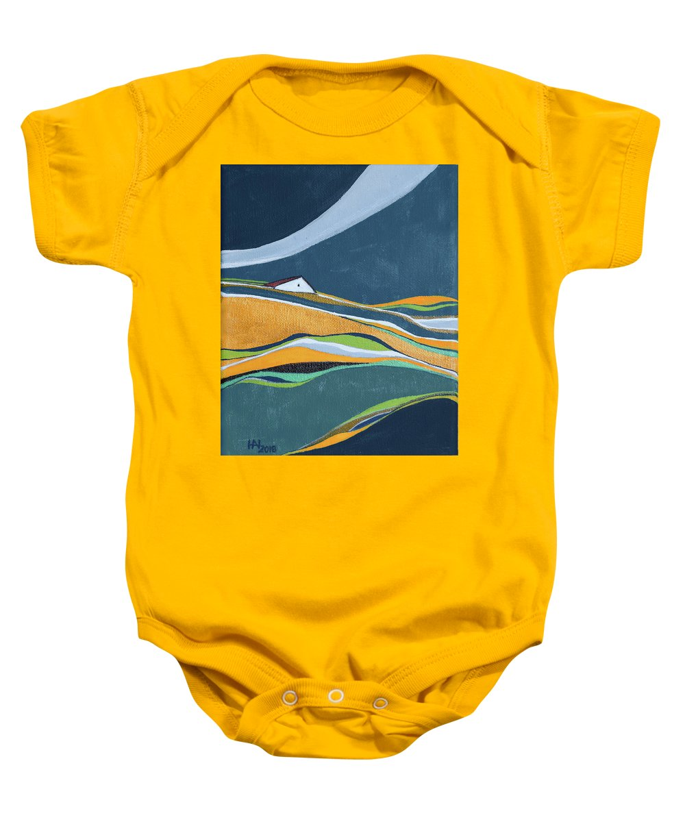 Abstract Baby Onesie featuring the painting Distant House by Aniko Hencz