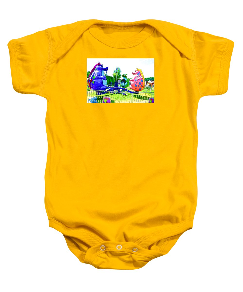 Ride Baby Onesie featuring the painting Dizzy Dragon Ride 1 by Jeelan Clark