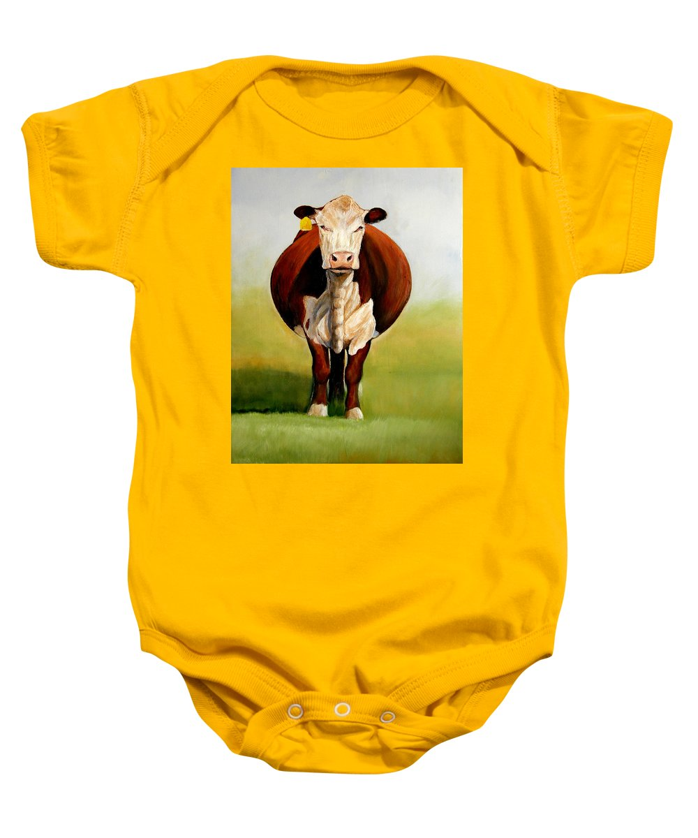 Hereford Baby Onesie featuring the painting Do I Look Fat by Toni Grote