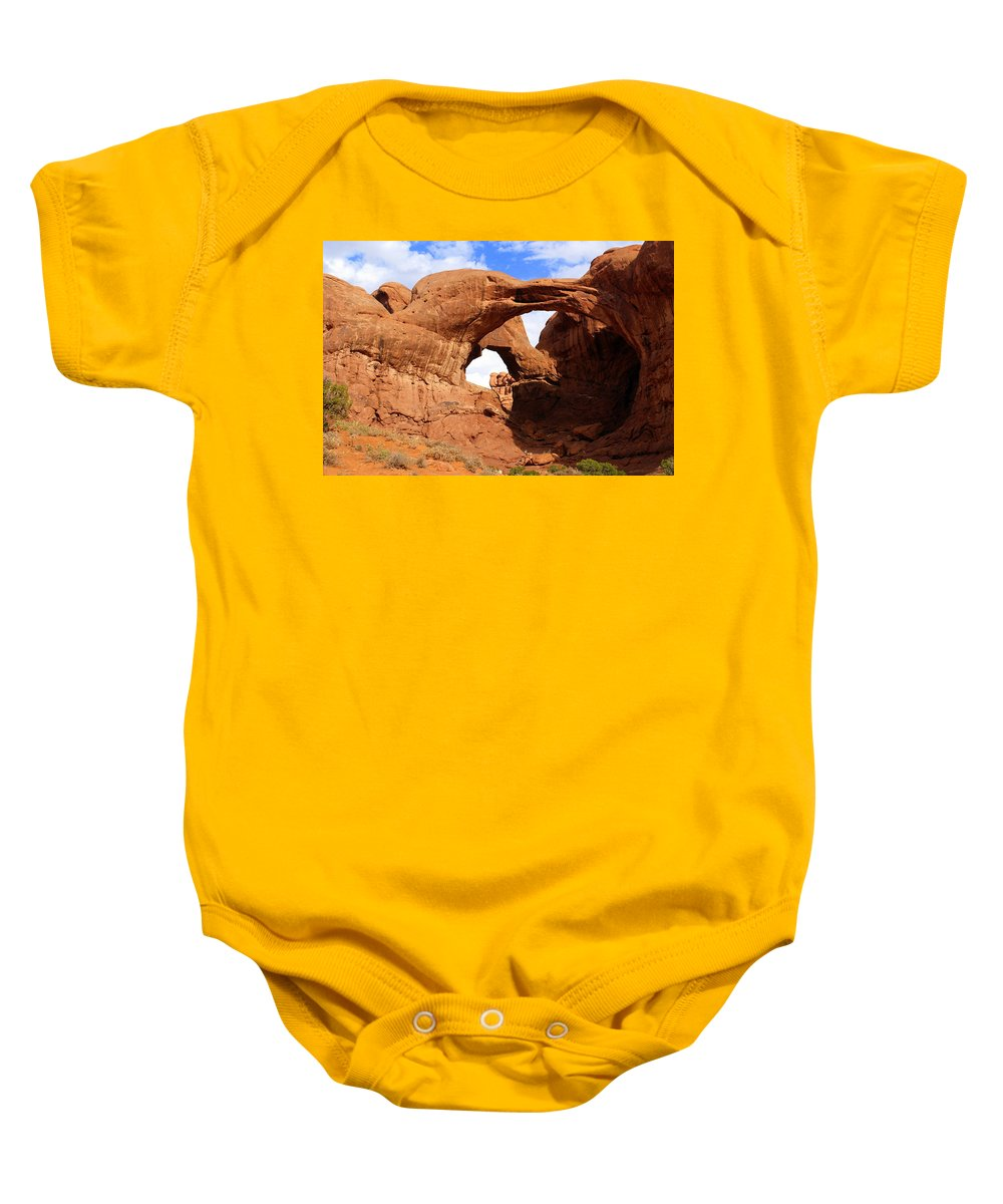 Southwest Art Baby Onesie featuring the photograph Double Arch by Marty Koch