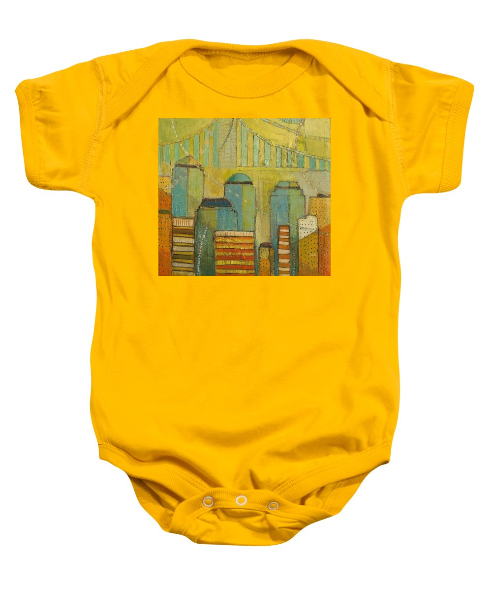 Baby Onesie featuring the painting Downtown Manhattan by Habib Ayat