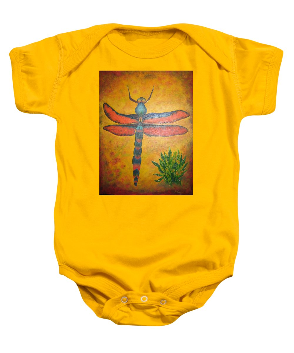 Nature Baby Onesie featuring the painting Dragonfly in flight by Debbie Levene