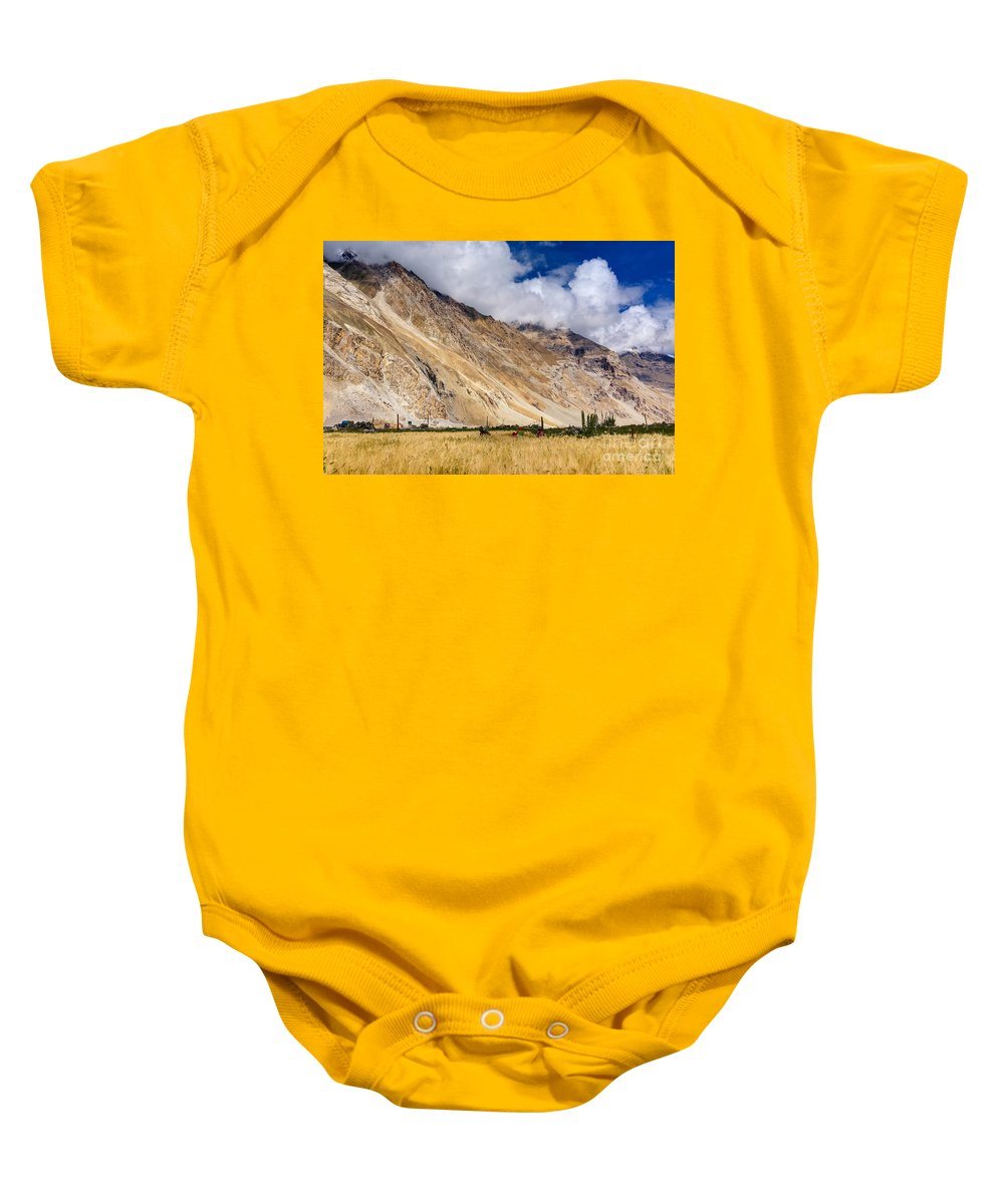 Drass Baby Onesie featuring the photograph Drass Village Agriculture Kargil Ladakh Jammu And Kashmir India by Rudra Narayan Mitra