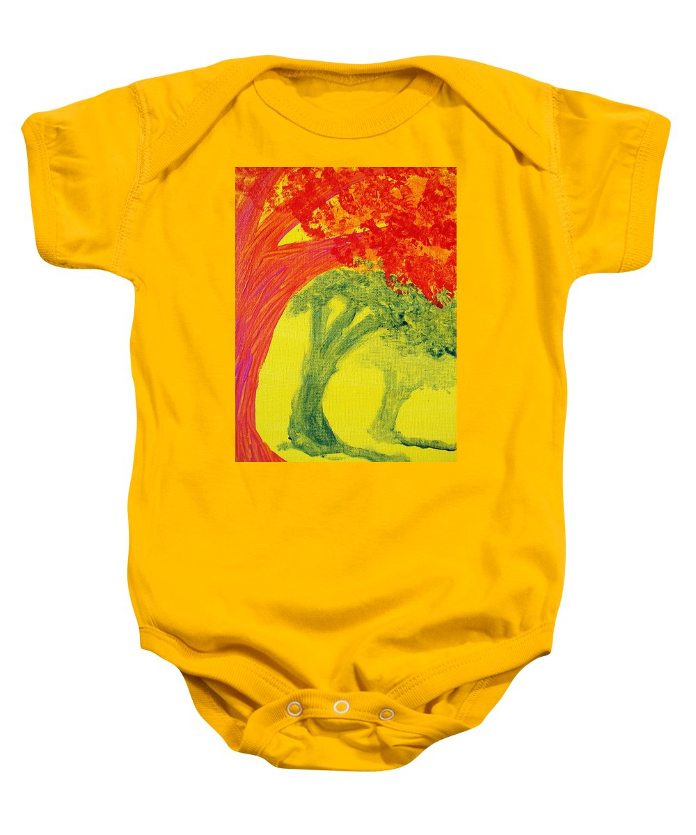 Orange Baby Onesie featuring the painting Dreaming And Shadows by Laurette Escobar