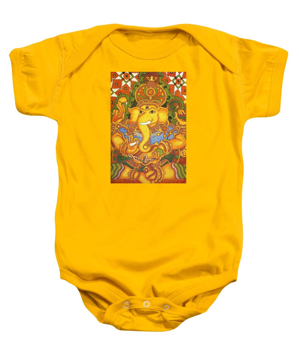 Indian Art Baby Onesie featuring the painting Drishti Ganapathi The Elephant Headed Hindu God Of Good Omens by Anu Edasseri