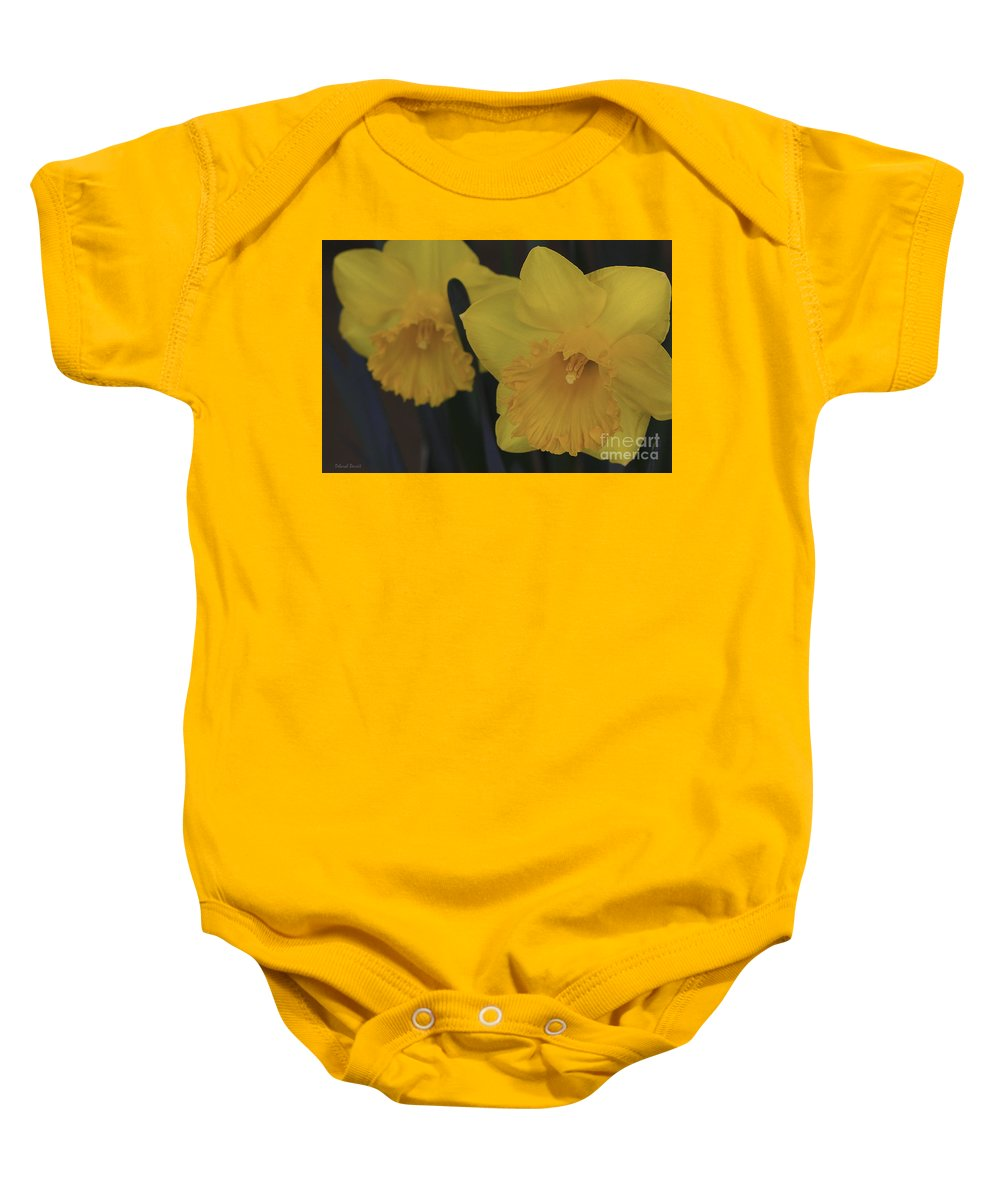 Daffodils Baby Onesie featuring the photograph Duo In Daffodils by Deborah Benoit