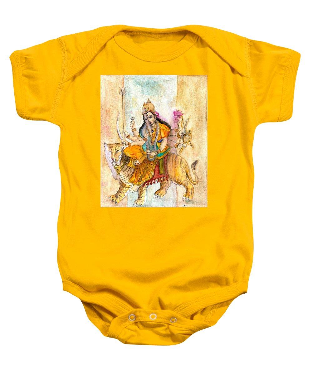 Durga Baby Onesie featuring the painting Durga by Iris Kovalio