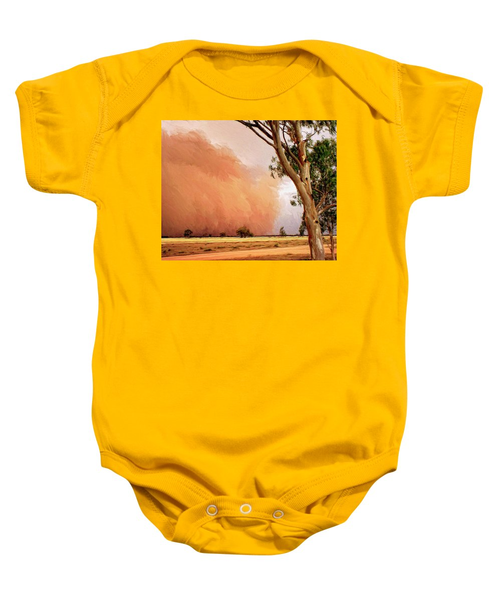 Dust Baby Onesie featuring the painting Dust Storm by Dominic Piperata