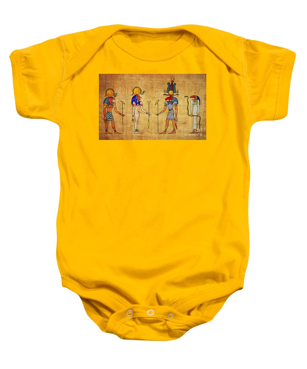 Egypt Baby Onesie featuring the digital art Egyptian Gods And Goddness by Michal Boubin
