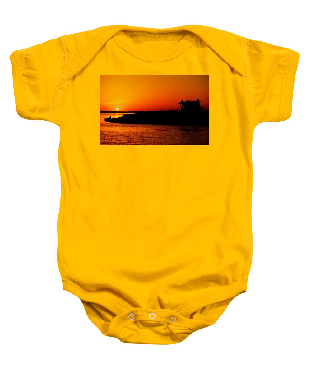 Africa Baby Onesie featuring the pyrography Egyptian Sunset On Lake Nasser by Julian Wicksteed