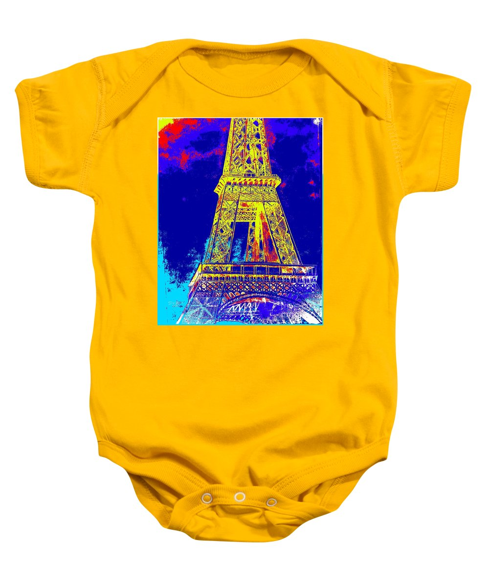 Card Baby Onesie featuring the painting Eiffel Tower In Blue by Irving Starr