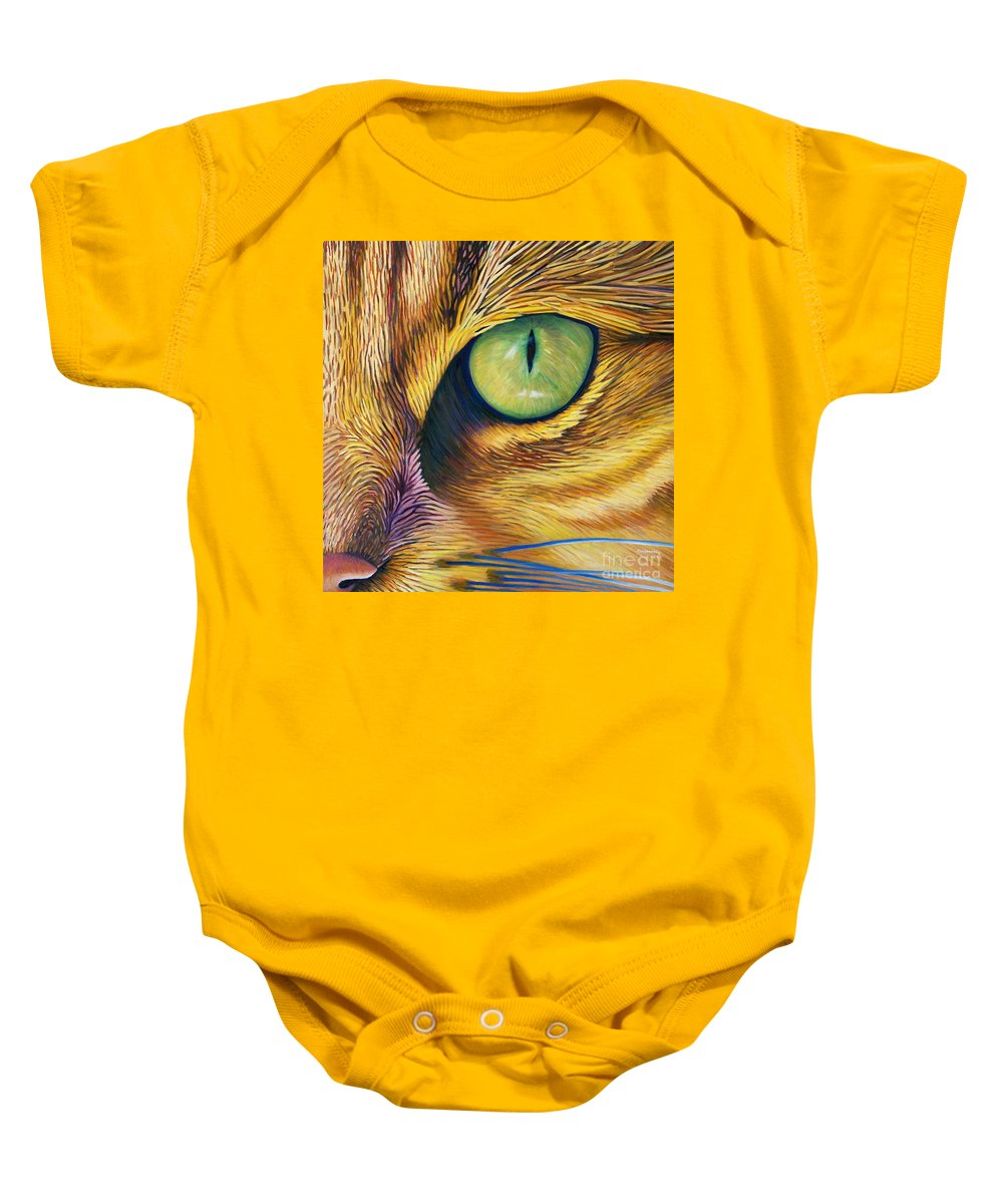 Cat Baby Onesie featuring the painting El Gato by Brian Commerford