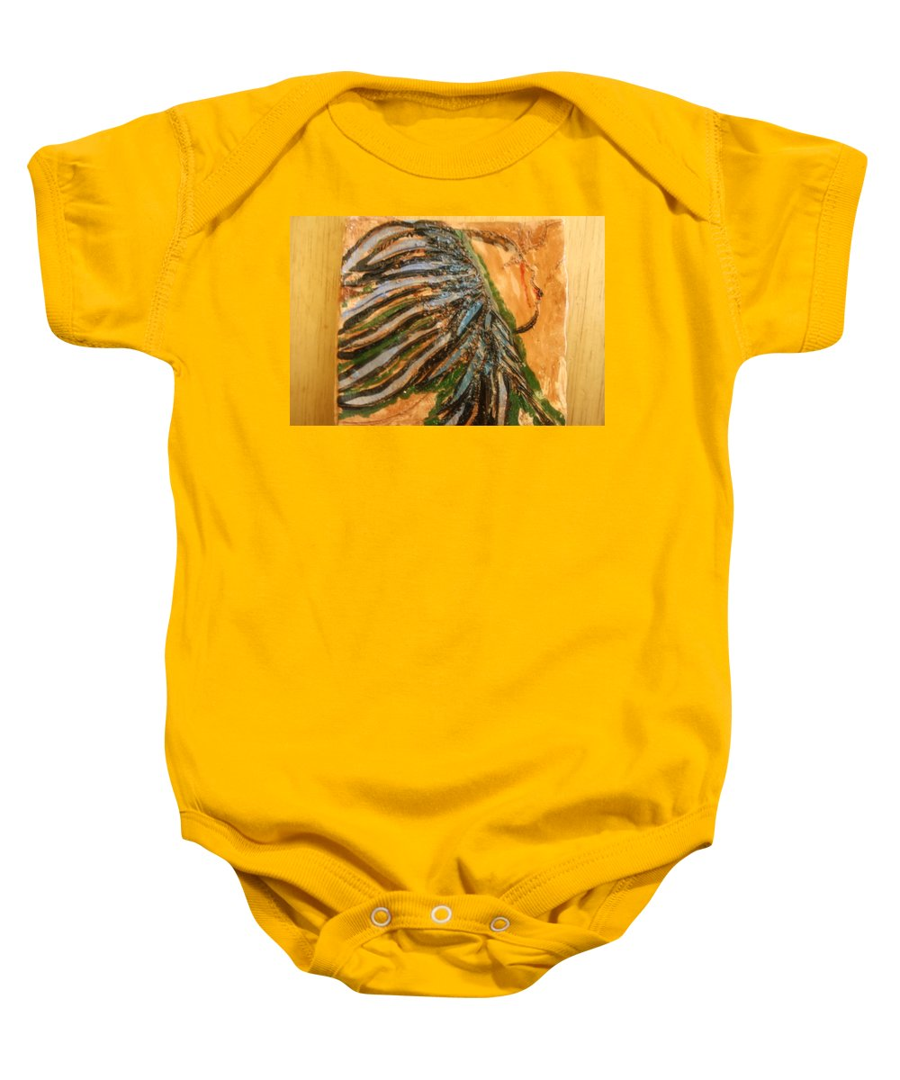 Jesus Baby Onesie featuring the ceramic art Eleanora - Tile by Gloria Ssali
