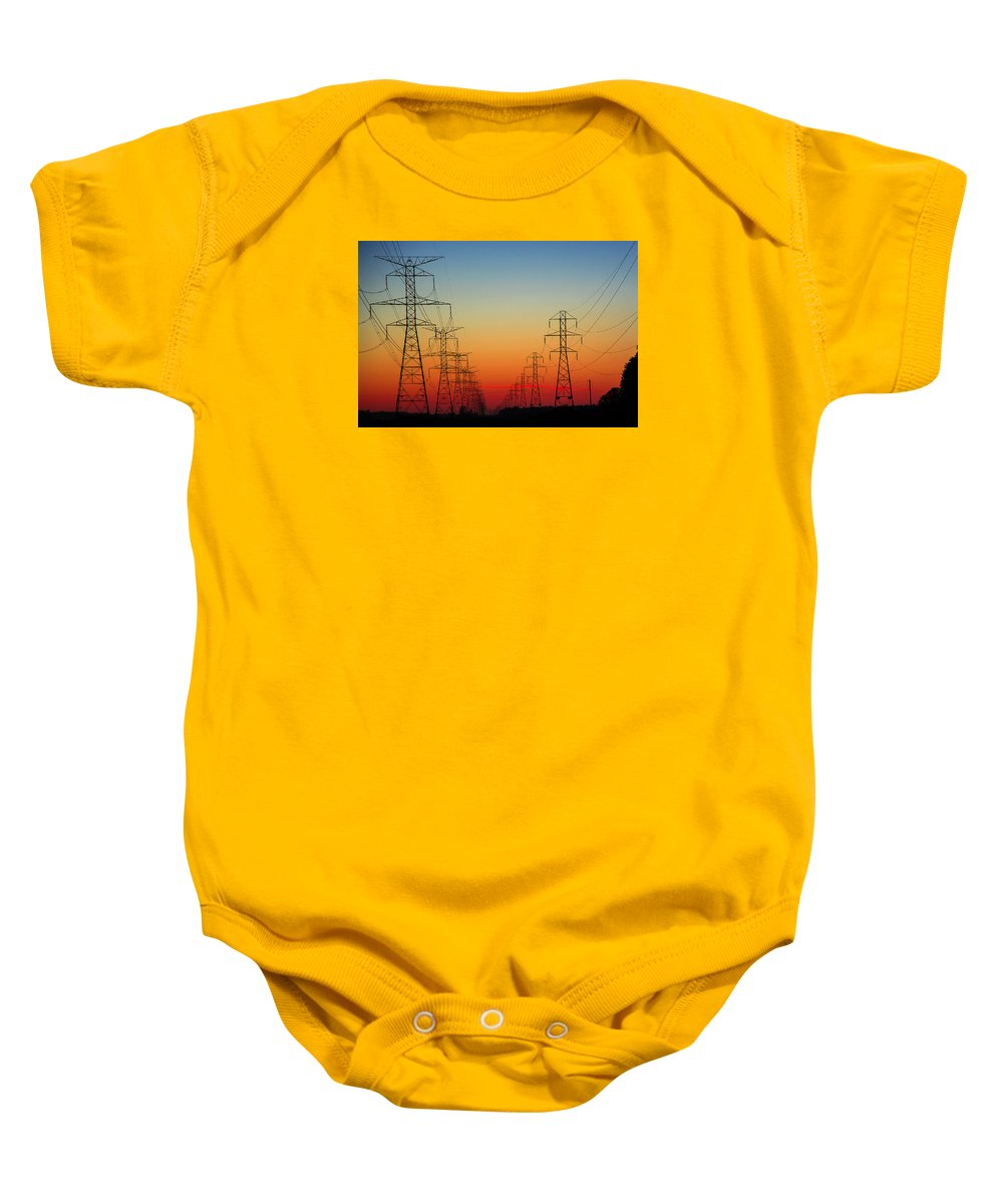 Landscape Baby Onesie featuring the photograph Electrodusk by Casey Becker