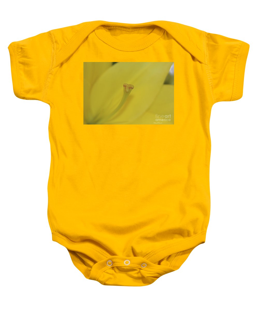 Lilly Baby Onesie featuring the photograph Elusive Lilly by Deborah Benoit