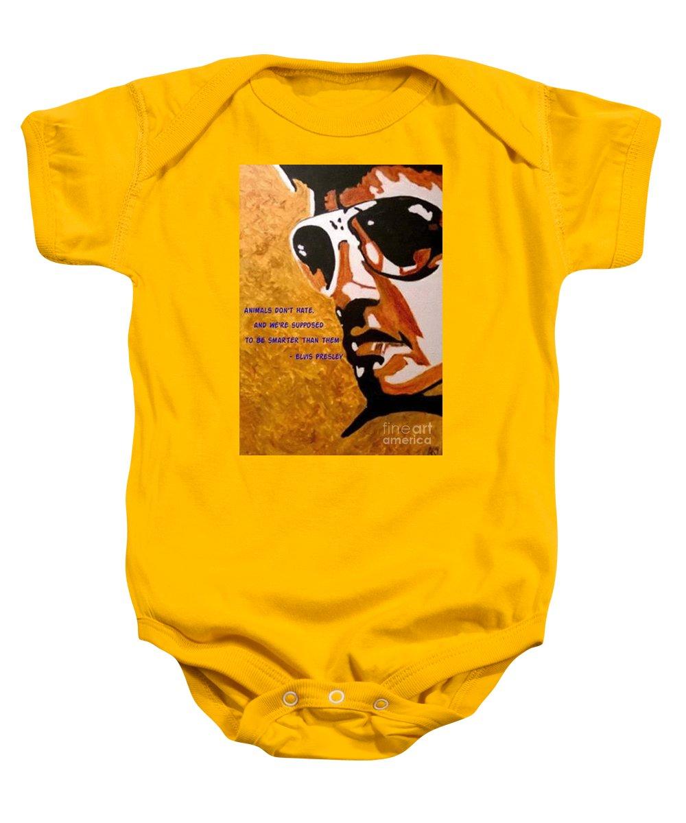 Elvis Baby Onesie featuring the painting Elvis 01 by Aat Kuijpers