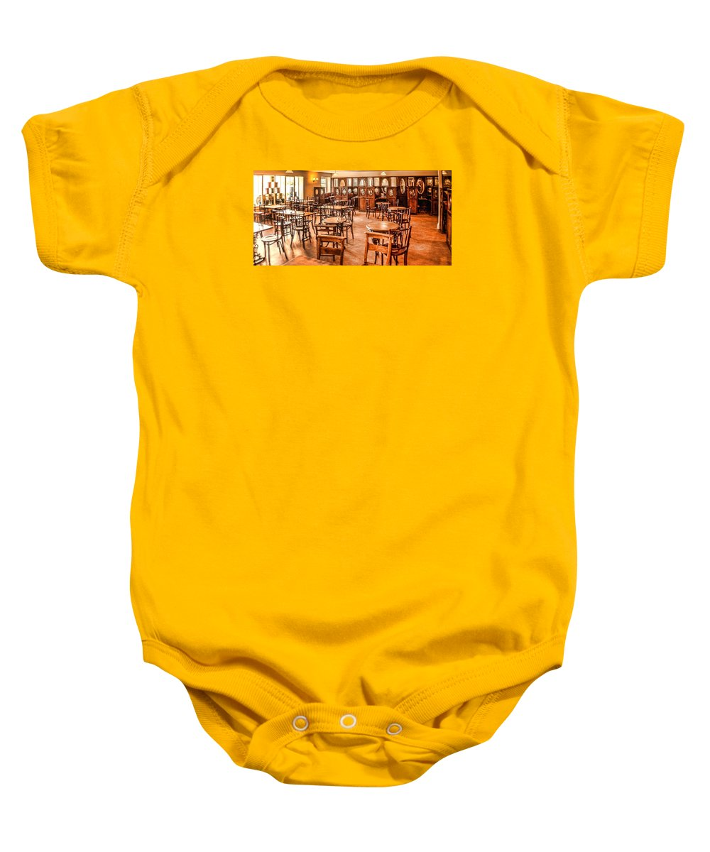 Beamish Baby Onesie featuring the digital art Empty Diner 1 by John Lynch
