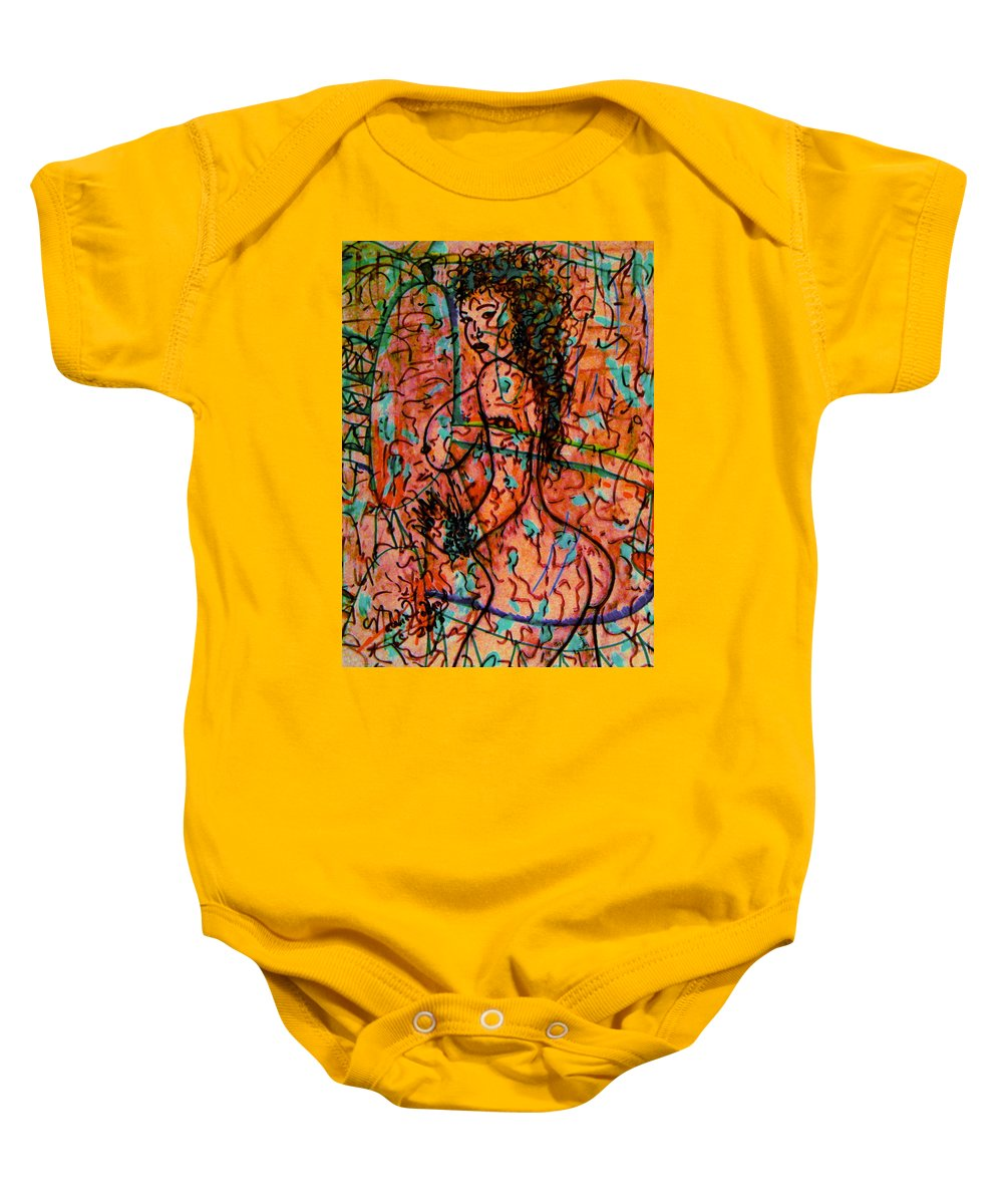Nude Baby Onesie featuring the mixed media Erotic Nude 1 by Natalie Holland
