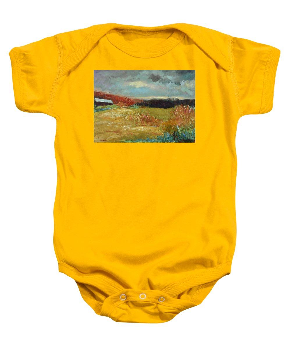 Stormy Landscapes Baby Onesie featuring the painting Expecting a Storm by Ginger Concepcion