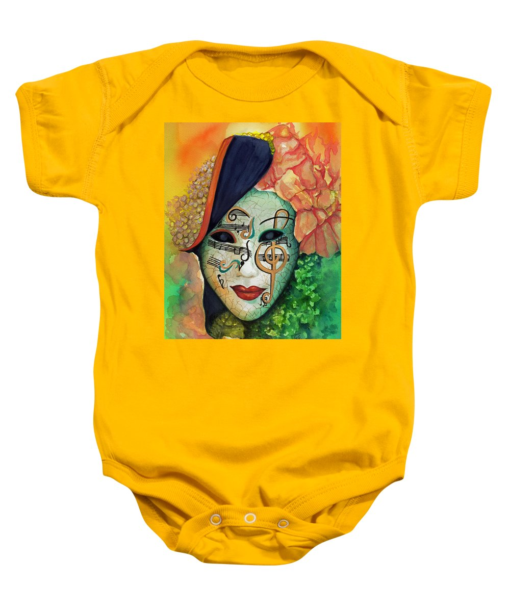 Mask Baby Onesie featuring the painting Face The Music by Sherry Cummings
