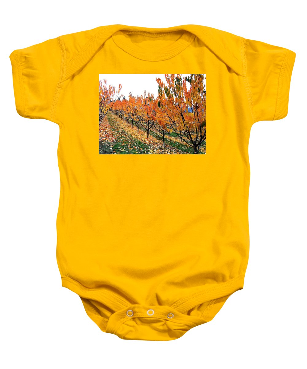 Autumn Baby Onesie featuring the photograph Fall Cherry Orchard by Will Borden