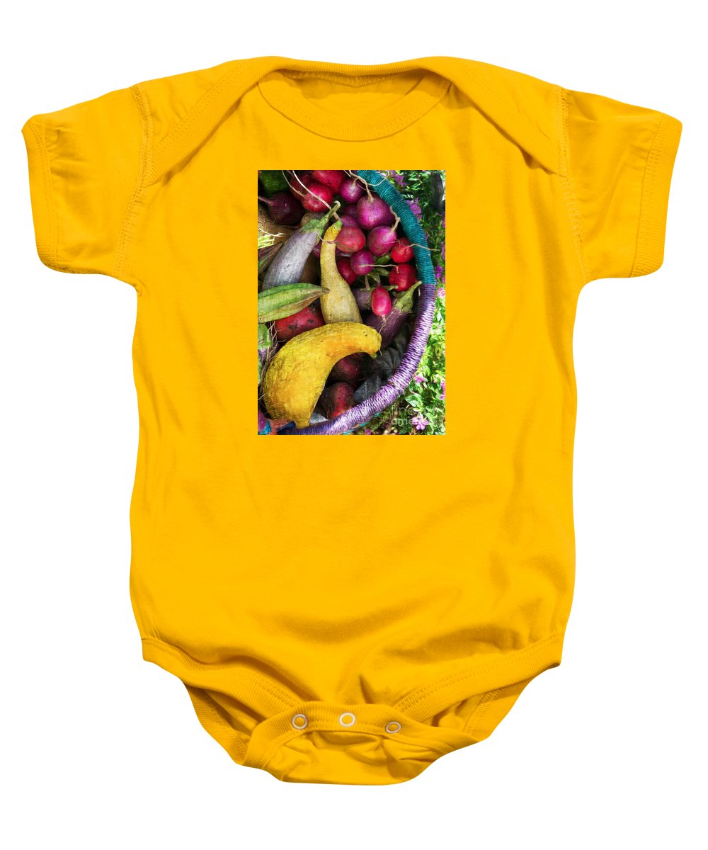 Fall Baby Onesie featuring the photograph Fall Harvest Basket by Michael Moriarty