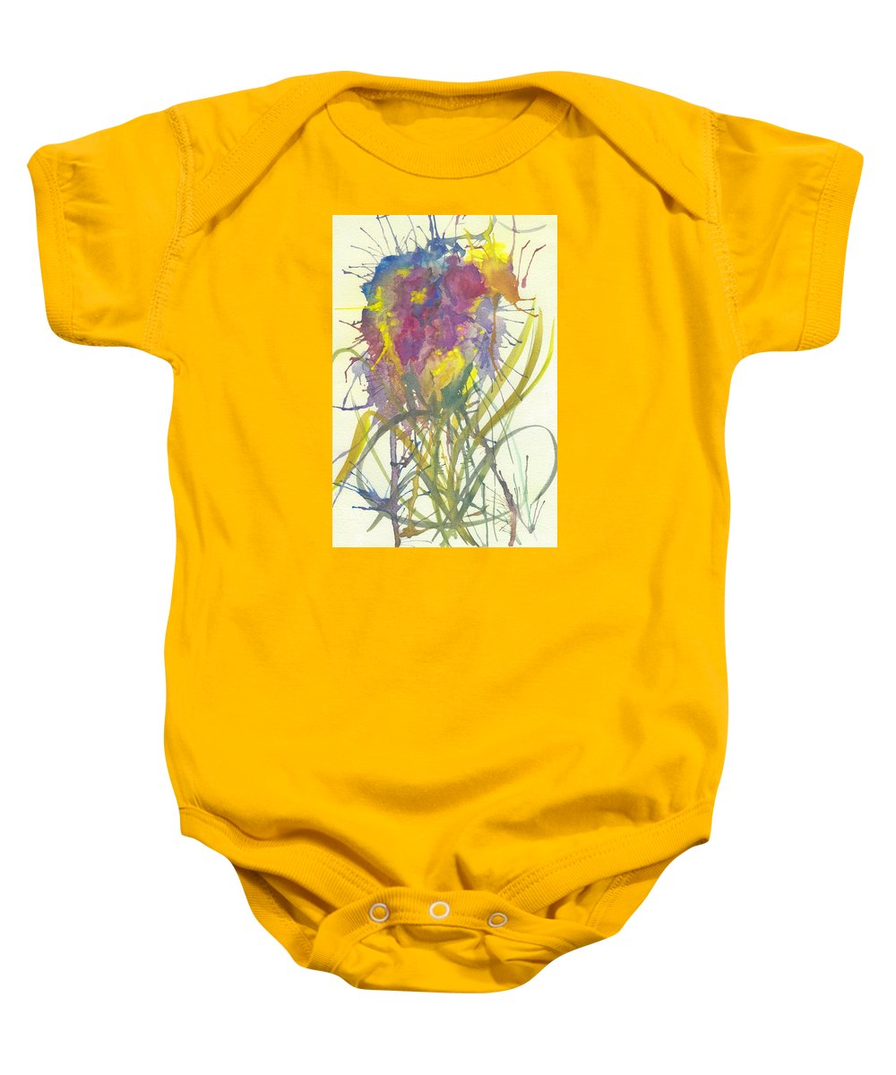 Abstract Watercolor Flower Baby Onesie featuring the painting Fantasia De Flor by Ivonne Sequera
