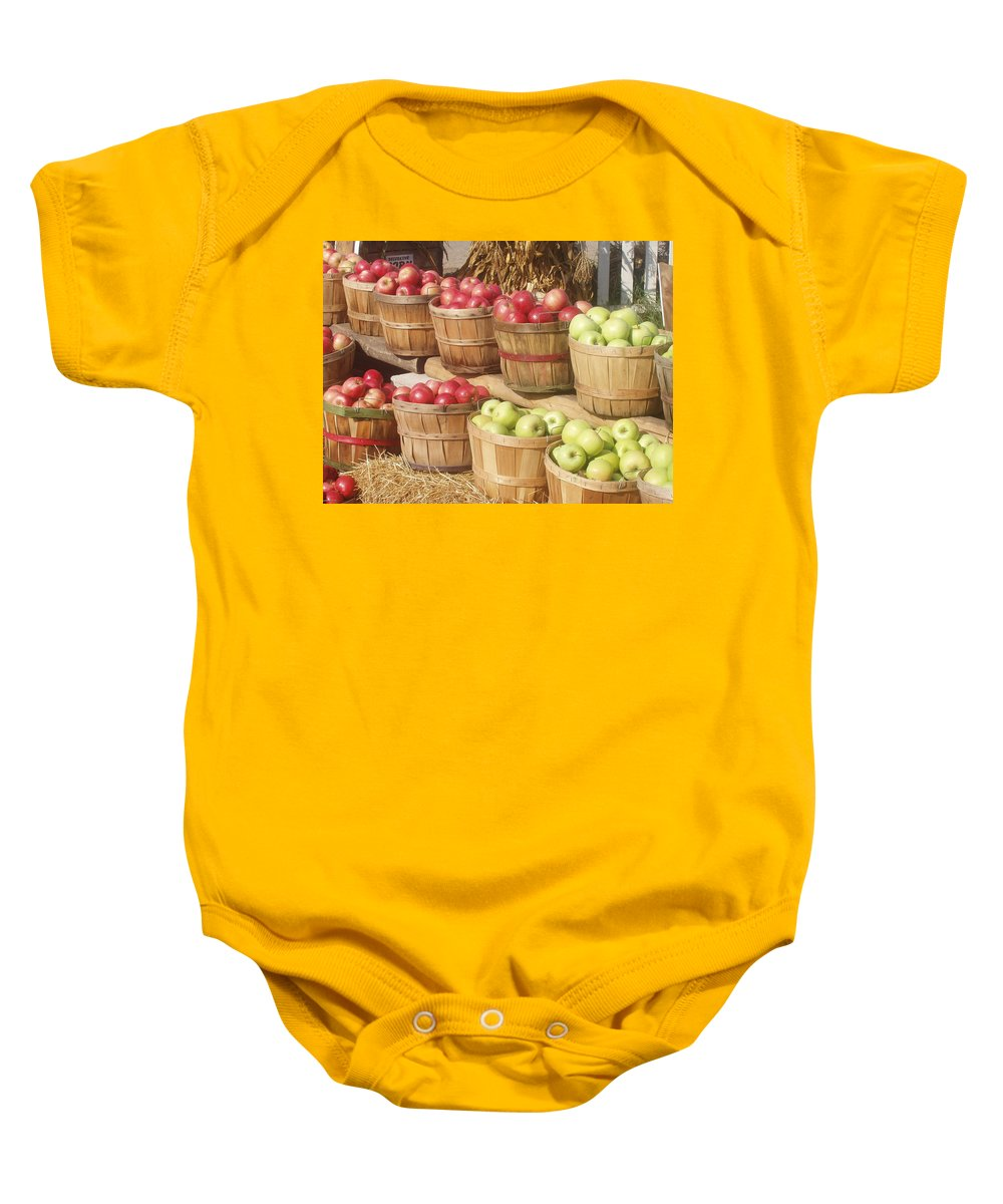Farmers Market Baby Onesie featuring the photograph Farmer's Market Apples by Wayne Potrafka