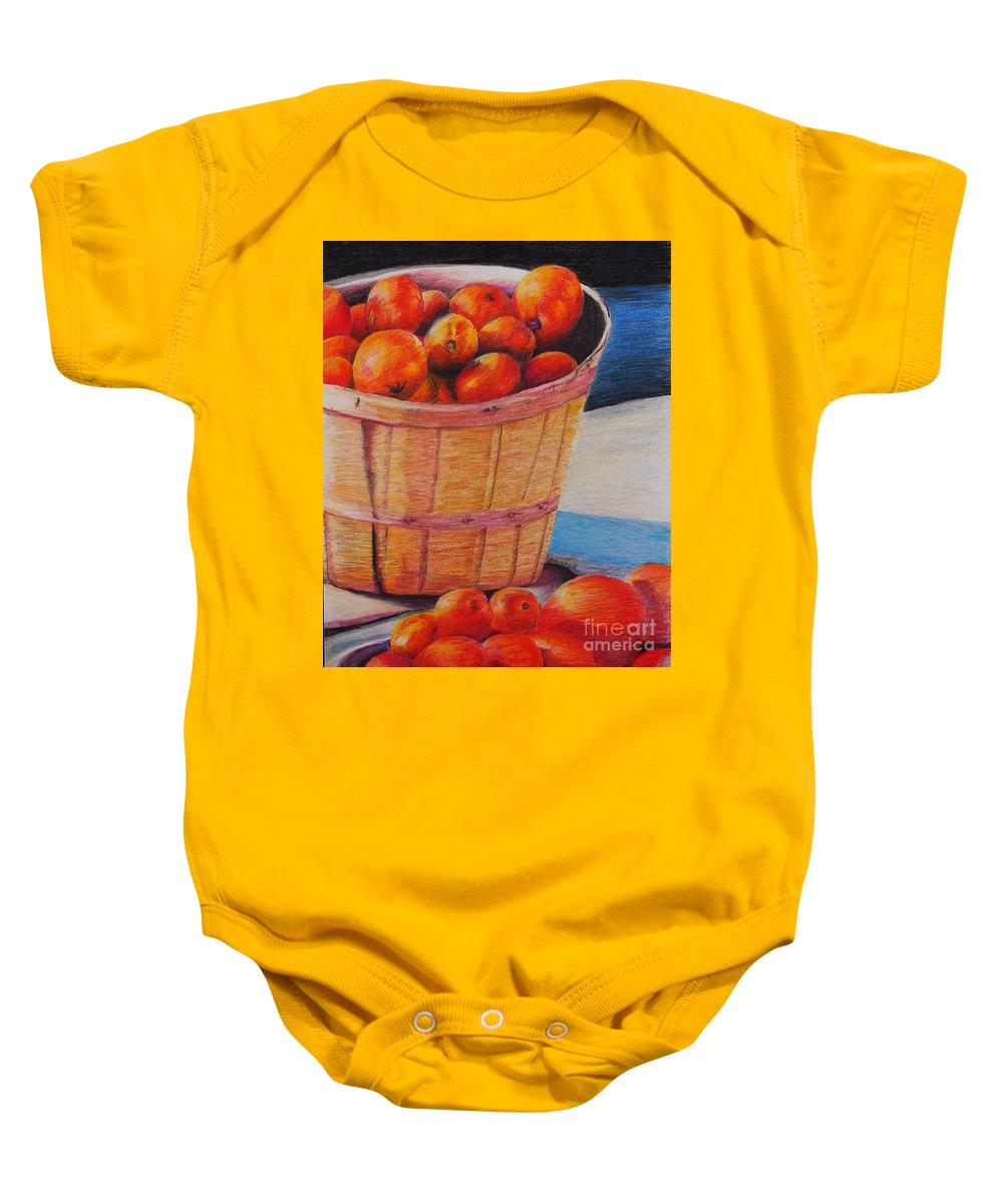 Produce In A Basket Baby Onesie featuring the drawing Farmers Market Produce by Nadine Rippelmeyer