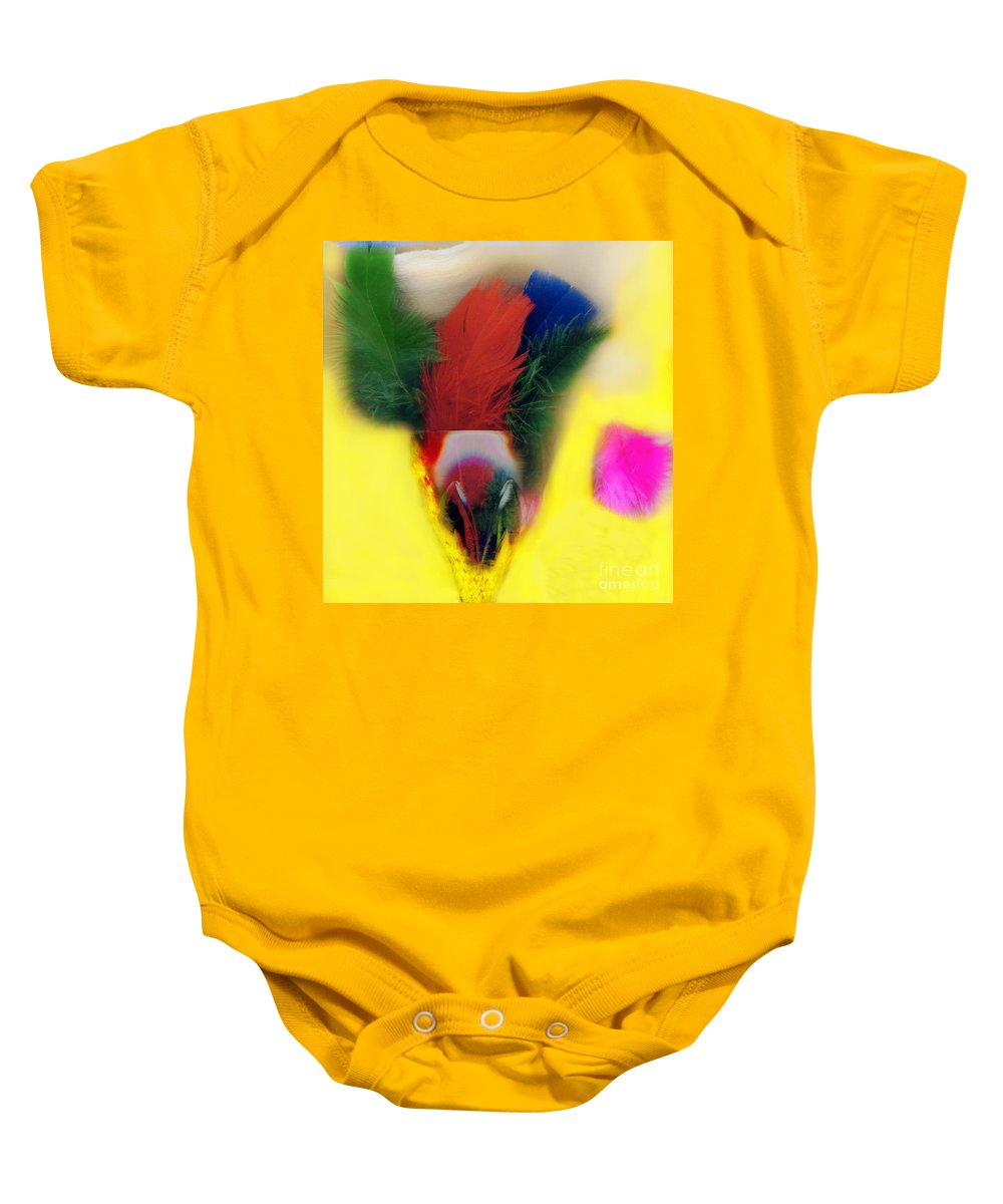 Feather Baby Onesie featuring the digital art Feathers In Wine Glass by Madeline Ellis