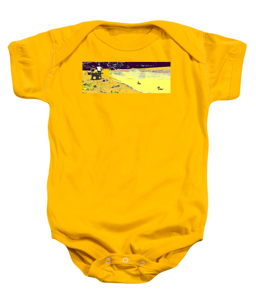 St Kitts Baby Onesie featuring the photograph Feeding The Pelicans by Ian MacDonald