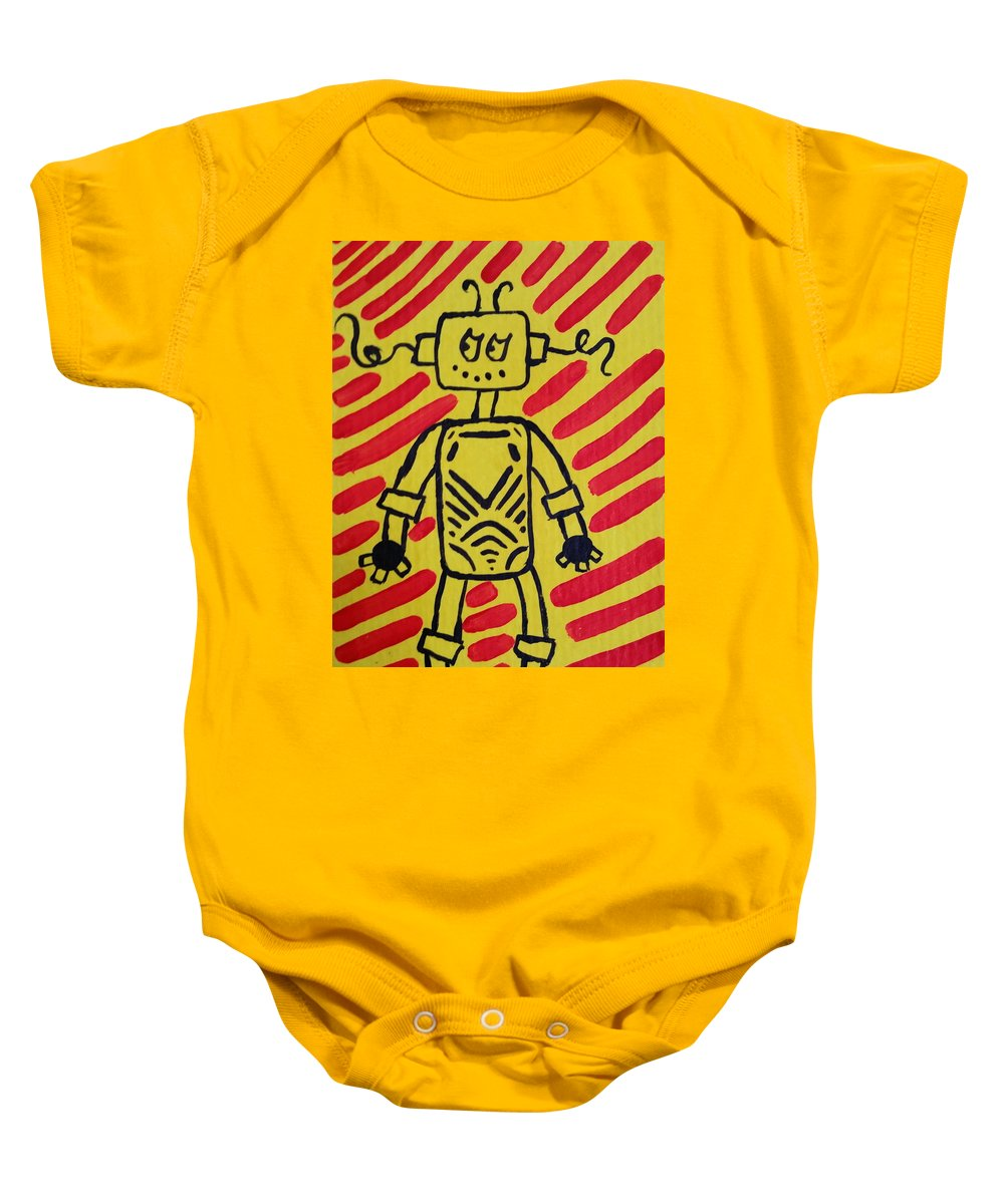 Red Baby Onesie featuring the painting Feel by Kelly Brimberry