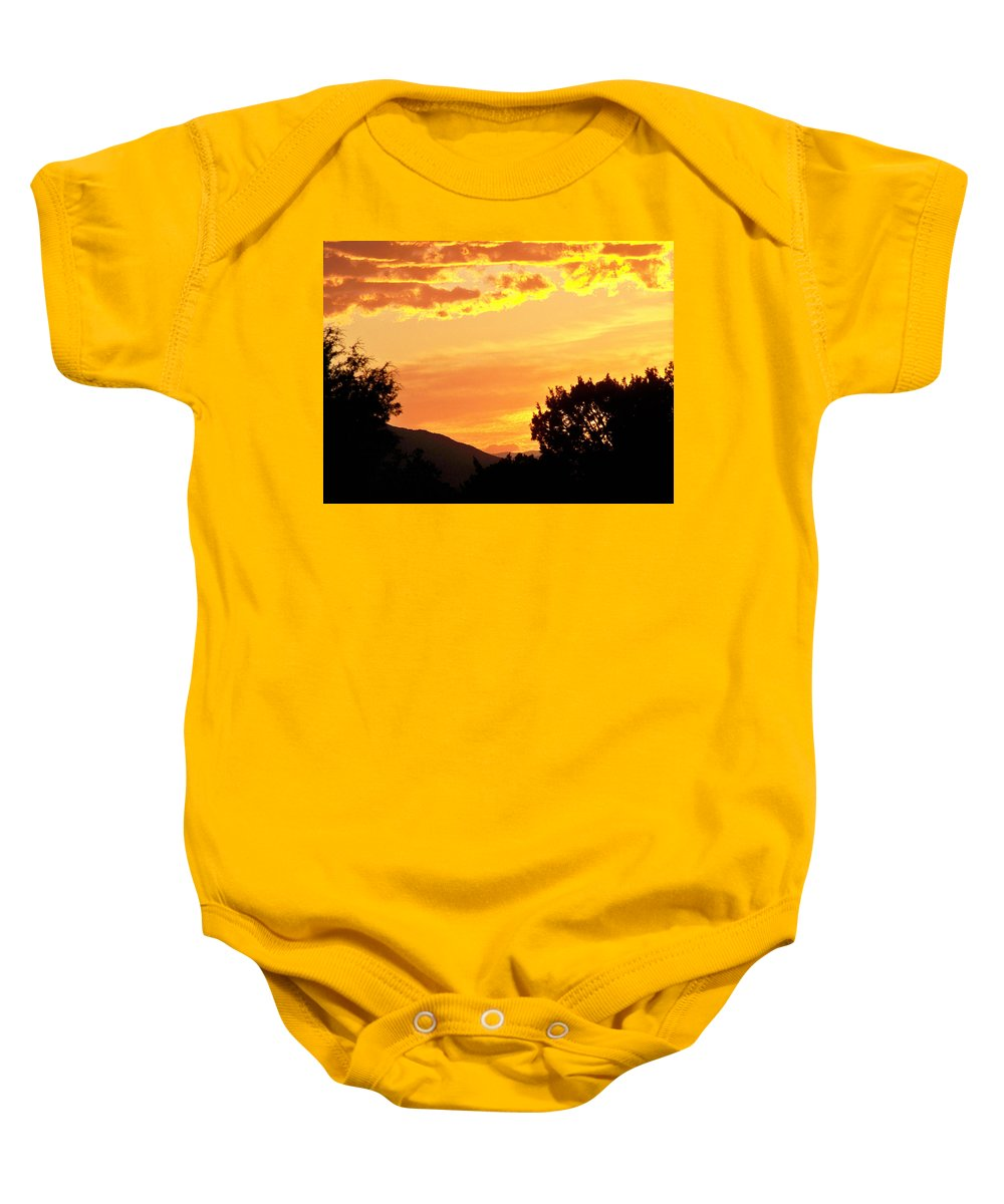 Landscape Baby Onesie featuring the photograph Fire In The Sky 1 by Brian Commerford