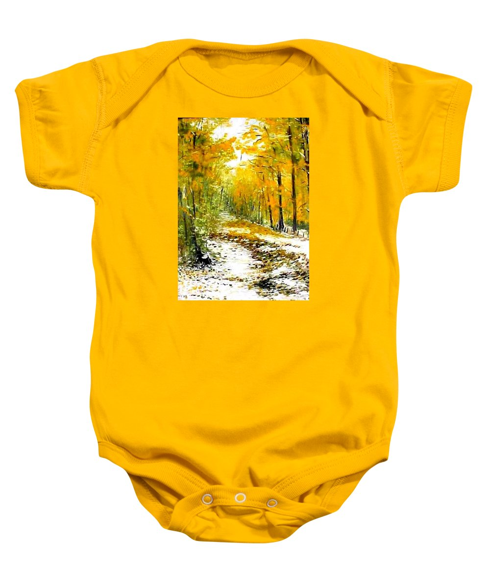 Landscape Baby Onesie featuring the painting First Snow by Boris Garibyan